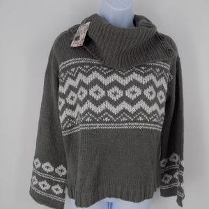 NWT 'Pink Rebublic' Sweater, Button-up Cowl Neck